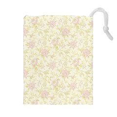 Floral Paper Pink Girly Pattern Drawstring Pouches (extra Large) by paulaoliveiradesign