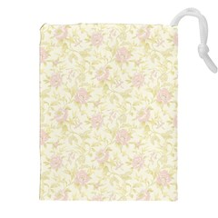 Floral Paper Pink Girly Pattern Drawstring Pouches (xxl) by paulaoliveiradesign