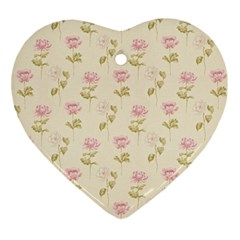 Floral Paper Illustration Girly Pink Pattern Ornament (heart) by paulaoliveiradesign