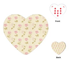 Floral Paper Illustration Girly Pink Pattern Playing Cards (heart)