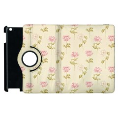Floral Paper Illustration Girly Pink Pattern Apple Ipad 2 Flip 360 Case by paulaoliveiradesign