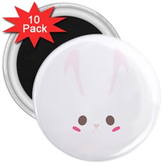Rabbit Cute Animal White 3  Magnets (10 Pack)  by Nexatart