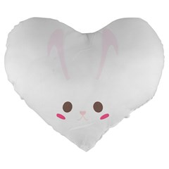 Rabbit Cute Animal White Large 19  Premium Heart Shape Cushions by Nexatart