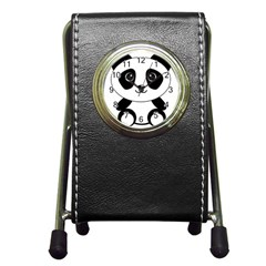 Bear Panda Bear Panda Animals Pen Holder Desk Clocks by Nexatart