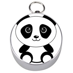 Bear Panda Bear Panda Animals Silver Compasses by Nexatart