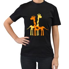 Giraffe Africa Safari Wildlife Women s T Shirt (black) (two Sided)