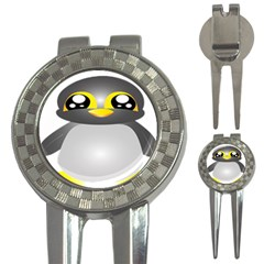 Cute Penguin Animal 3 In 1 Golf Divots by Nexatart