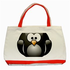 Penguin Birds Aquatic Flightless Classic Tote Bag (red) by Nexatart