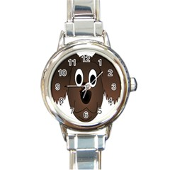 Dog Pup Animal Canine Brown Pet Round Italian Charm Watch