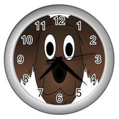 Dog Pup Animal Canine Brown Pet Wall Clocks (silver)  by Nexatart
