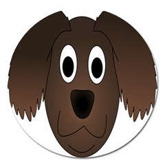 Dog Pup Animal Canine Brown Pet Magnet 5  (round) by Nexatart