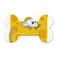 Rat Mouse Cheese Animal Mammal Dog Tag Bone (two Sides) by Nexatart
