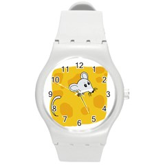 Rat Mouse Cheese Animal Mammal Round Plastic Sport Watch (m) by Nexatart
