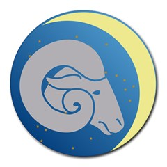 Ram Zodiac Sign Zodiac Moon Star Round Mousepads