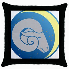Ram Zodiac Sign Zodiac Moon Star Throw Pillow Case (black)