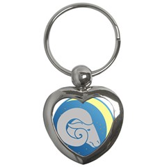 Ram Zodiac Sign Zodiac Moon Star Key Chains (heart)