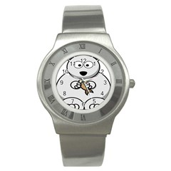 Bear Polar Bear Arctic Fish Mammal Stainless Steel Watch by Nexatart