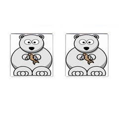 Bear Polar Bear Arctic Fish Mammal Cufflinks (square) by Nexatart