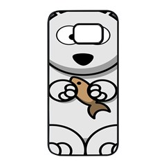 Bear Polar Bear Arctic Fish Mammal Samsung Galaxy S7 Edge Black Seamless Case by Nexatart