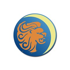 Lion Zodiac Sign Zodiac Moon Star Rubber Round Coaster (4 Pack)