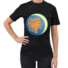 Lion Zodiac Sign Zodiac Moon Star Women s T Shirt (black) (two Sided)