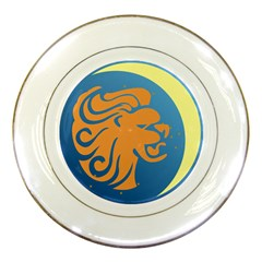 Lion Zodiac Sign Zodiac Moon Star Porcelain Plates by Nexatart