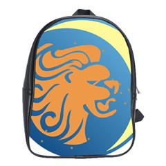 Lion Zodiac Sign Zodiac Moon Star School Bag (xl) by Nexatart