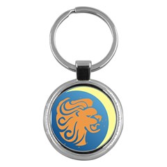 Lion Zodiac Sign Zodiac Moon Star Key Chains (round)  by Nexatart