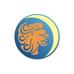Lion Zodiac Sign Zodiac Moon Star Magnet 3  (round) by Nexatart