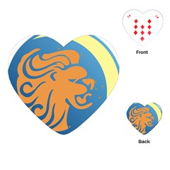 Lion Zodiac Sign Zodiac Moon Star Playing Cards (heart)