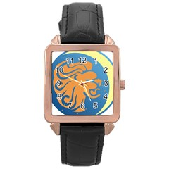 Lion Zodiac Sign Zodiac Moon Star Rose Gold Leather Watch