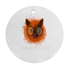 Cat Smart Design Pet Cute Animal Round Ornament (two Sides)