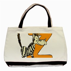 Zebra Animal Alphabet Z Wild Basic Tote Bag (two Sides) by Nexatart
