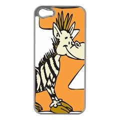 Zebra Animal Alphabet Z Wild Apple Iphone 5 Case (silver) by Nexatart