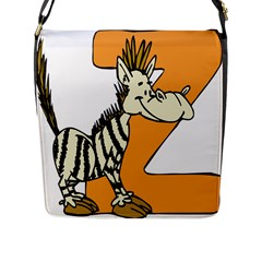 Zebra Animal Alphabet Z Wild Flap Messenger Bag (l)  by Nexatart