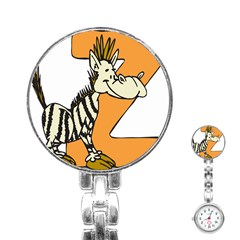Zebra Animal Alphabet Z Wild Stainless Steel Nurses Watch by Nexatart
