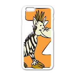Zebra Animal Alphabet Z Wild Apple Iphone 6/6s White Enamel Case by Nexatart