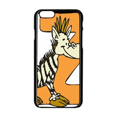 Zebra Animal Alphabet Z Wild Apple Iphone 6/6s Black Enamel Case by Nexatart