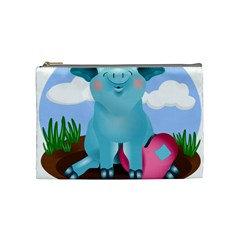 Pig Animal Love Cosmetic Bag (medium)  by Nexatart