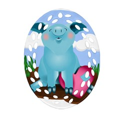 Pig Animal Love Oval Filigree Ornament (two Sides) by Nexatart