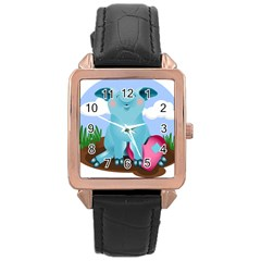 Pig Animal Love Rose Gold Leather Watch