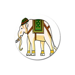 Elephant Indian Animal Design Magnet 3  (round)