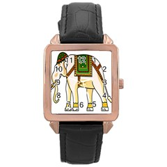 Elephant Indian Animal Design Rose Gold Leather Watch