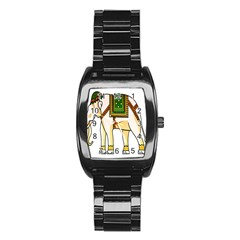Elephant Indian Animal Design Stainless Steel Barrel Watch by Nexatart