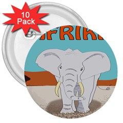 Africa Elephant Animals Animal 3  Buttons (10 Pack)