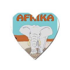 Africa Elephant Animals Animal Heart Magnet by Nexatart