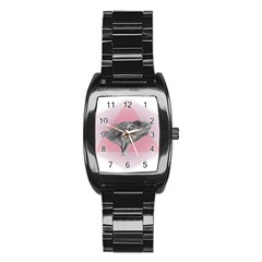 Lizard Hexagon Rosa Mandala Emblem Stainless Steel Barrel Watch by Nexatart