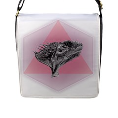 Lizard Hexagon Rosa Mandala Emblem Flap Messenger Bag (l)