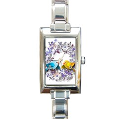 Flowers Floral Flowery Spring Rectangle Italian Charm Watch