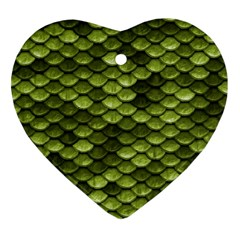 Green Mermaid Scales   Ornament (heart) by paulaoliveiradesign